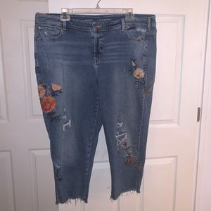 Lane Bryant Embroidered Distressed Denim Crops